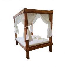 Κρεβάτι Ξύλινο Παραλίας Ενιαίο Διπλό Λευκό | Κηπογεωργική