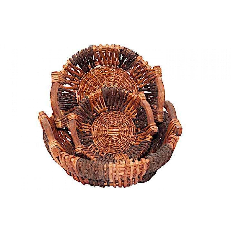Καλάθια Κάβας Ψάθινα Σετ 3τμχ 38x38x12cm | kipogeorgiki.gr