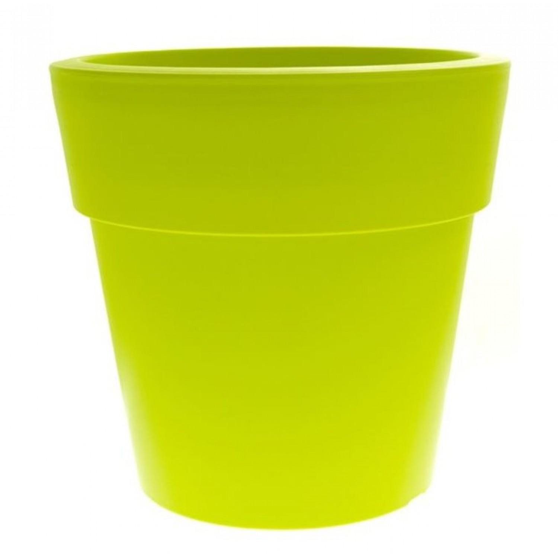 Γλάστρα Linea Στρογγυλή Χαμηλή Πράσινη Ø 40cm x 37.5cm(Υ)        |kipogeorgiki.gr