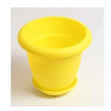 Πλαστική Χρωματιστή Γλάστρα Κίτρινη 20cm (Υ) x 24cm Ø     |kipogeorgiki.gr